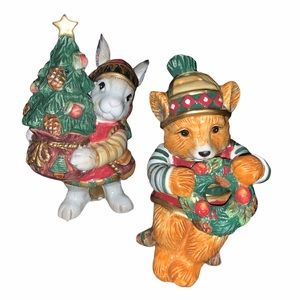 Fitz & Floyd Christmas Lodge salt pepper shakers